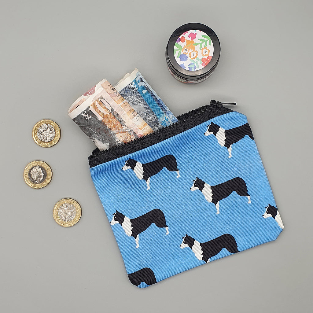 Border Collie fabric purse
