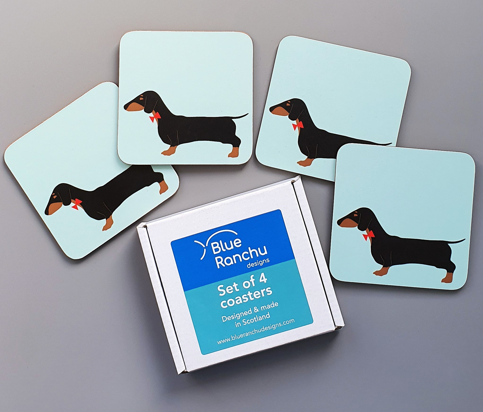 Dachshund coaster set in cardboard gift box