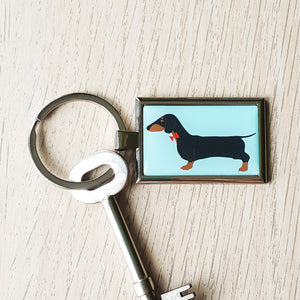 Dachshund metal keyring, black and tan sausage dog