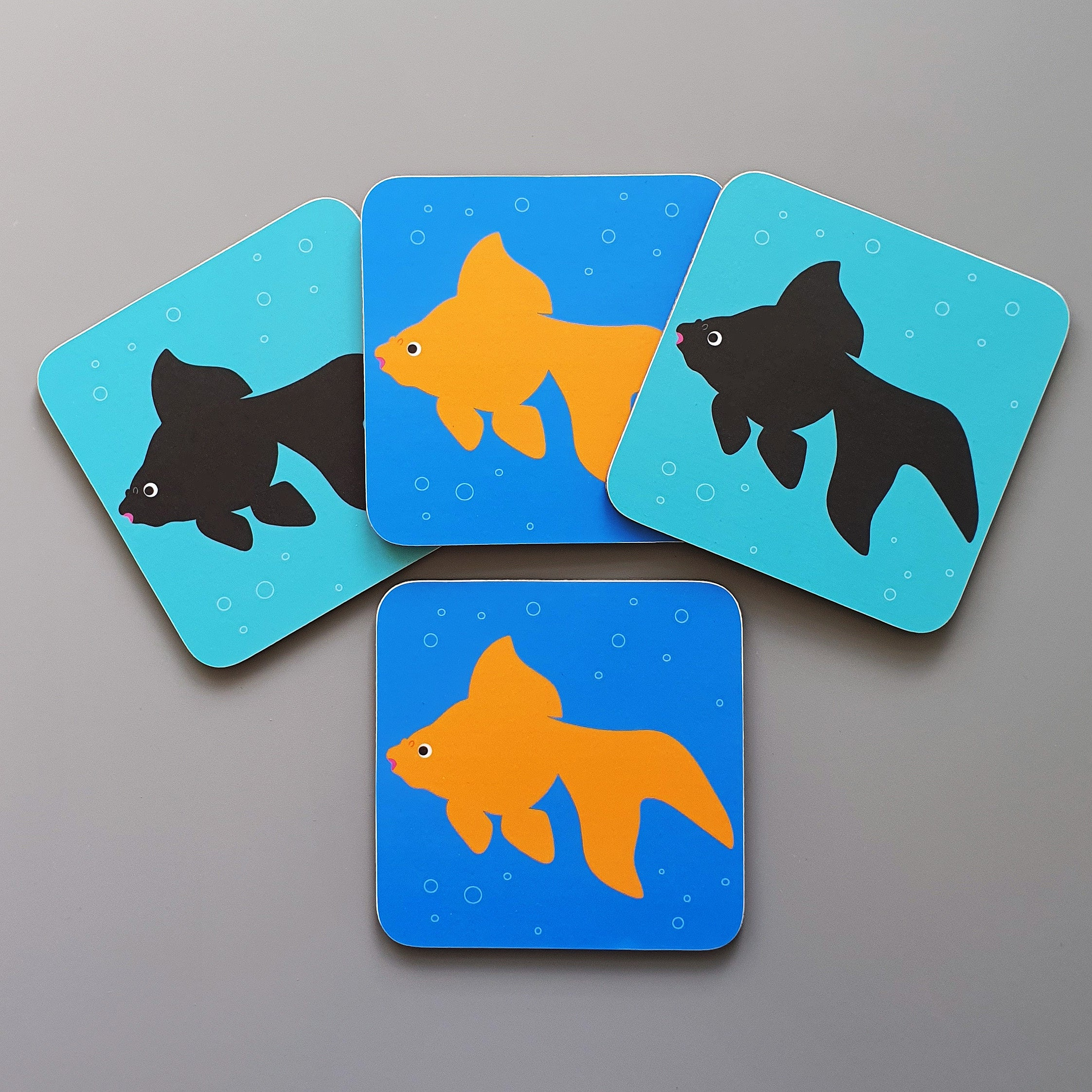 Set of 4 Fancy Goldfish coasters