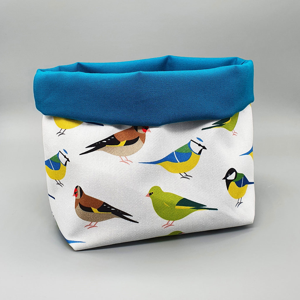 Garden Birds fabric storage basket