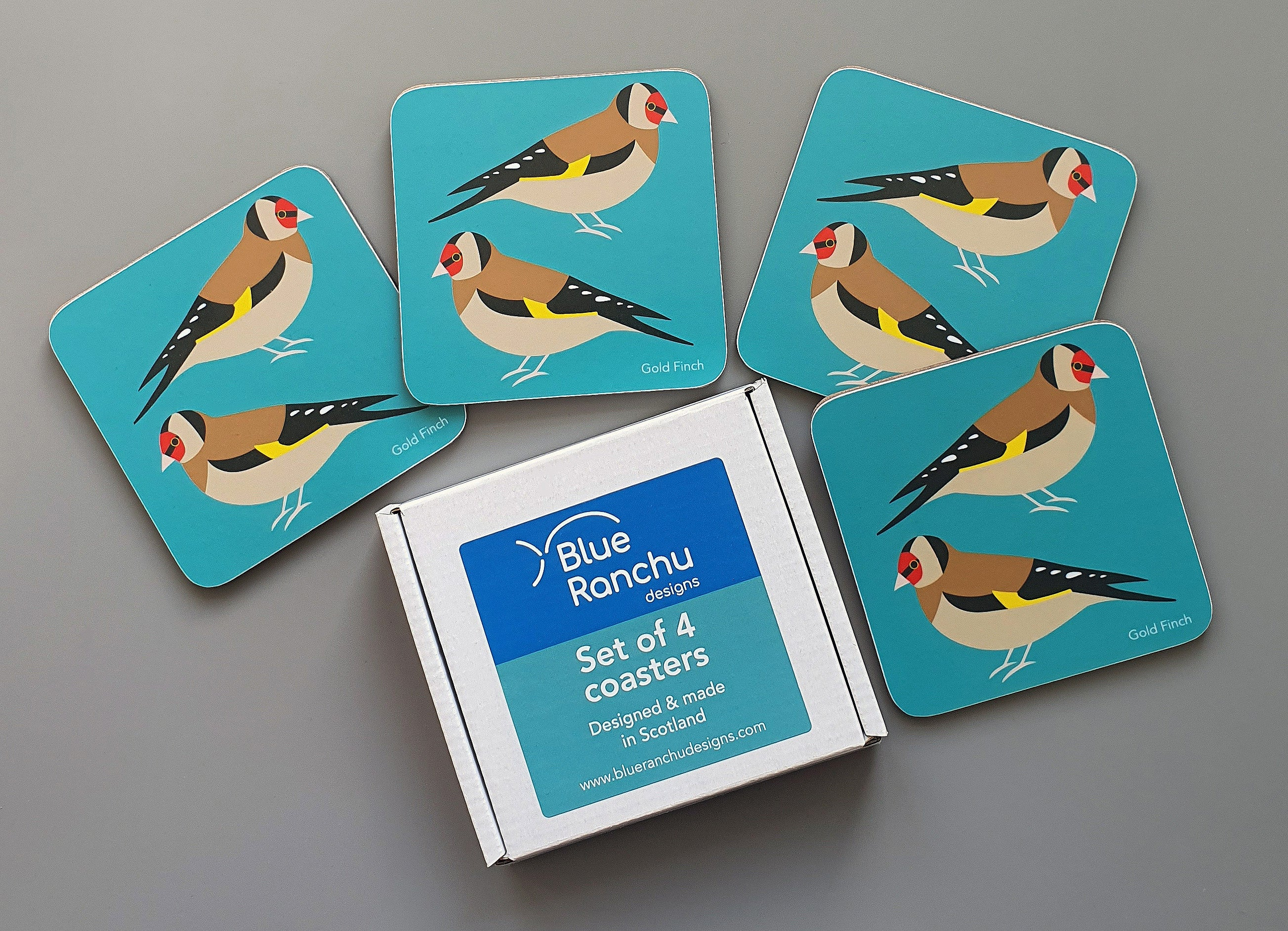 Set of 4 Gold Finch coasters in cardboard gift box