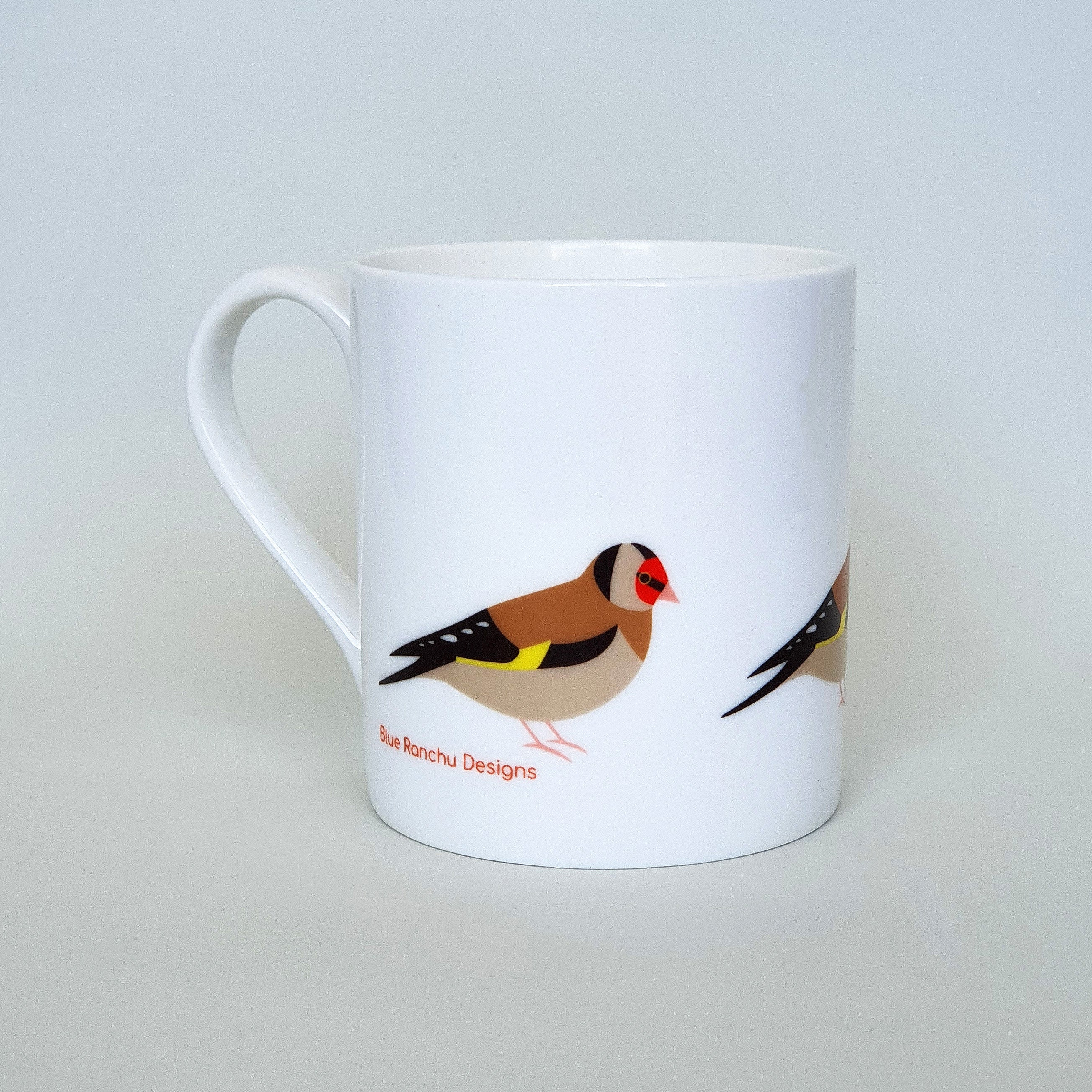 Gold Finch bone china mug