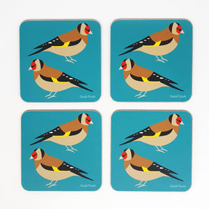 Gold Finch coaster set of 4