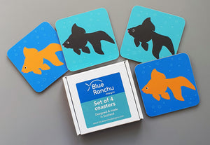 Set of 4 Fancy Goldfish coasters in cardboard gift box