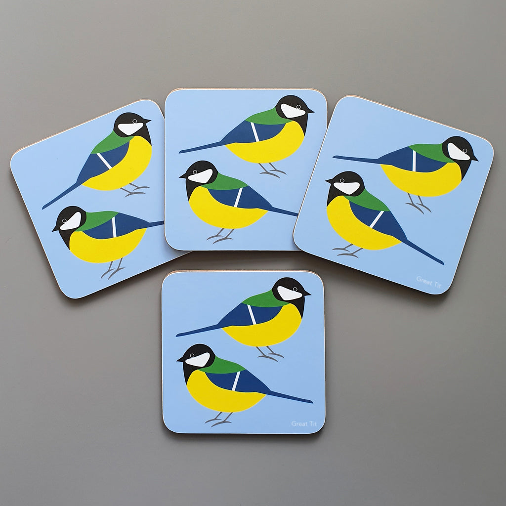 Great Tit coaster set of 4