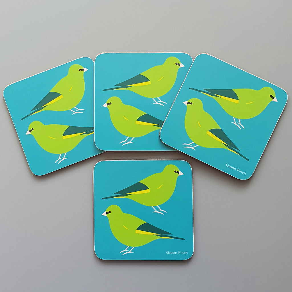 Green Finch coaster set of 4