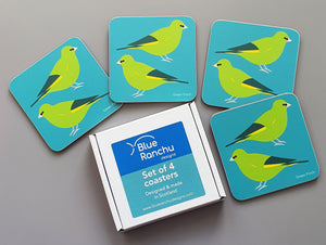Green Finch coaster set in cardboard gift box