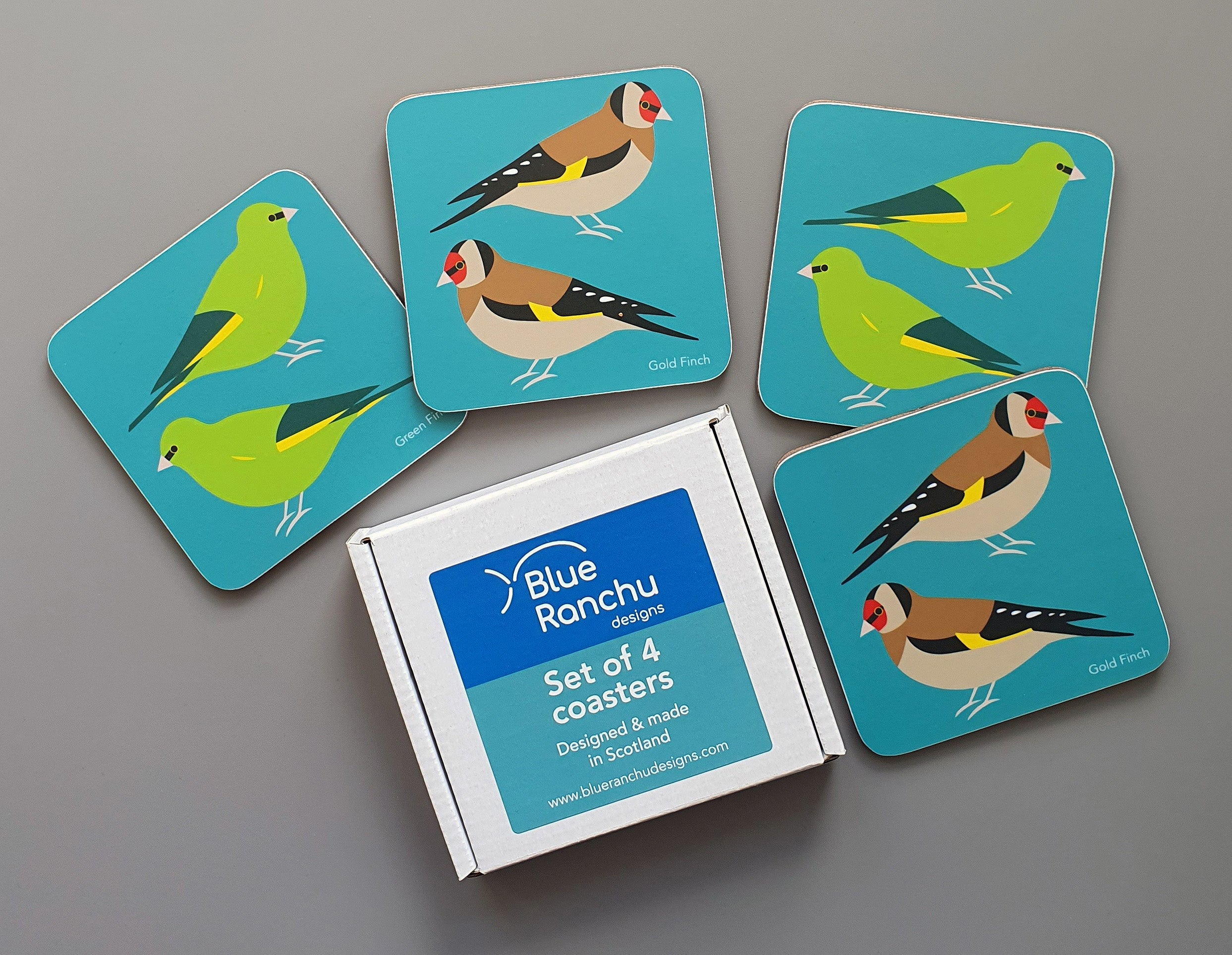 Green Finch and Gold Finch coaster set in cardboard gift box