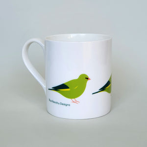 Green Finch bone china mug