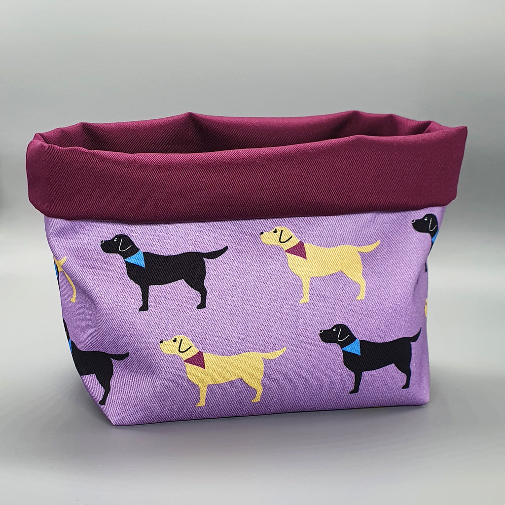 Handmade Labradors Fabric Storage Basket
