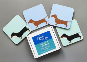 Dachshund mixed coaster set in cardboard gift box