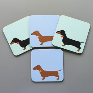 Dachshund mixed coaster set - red and black & tan