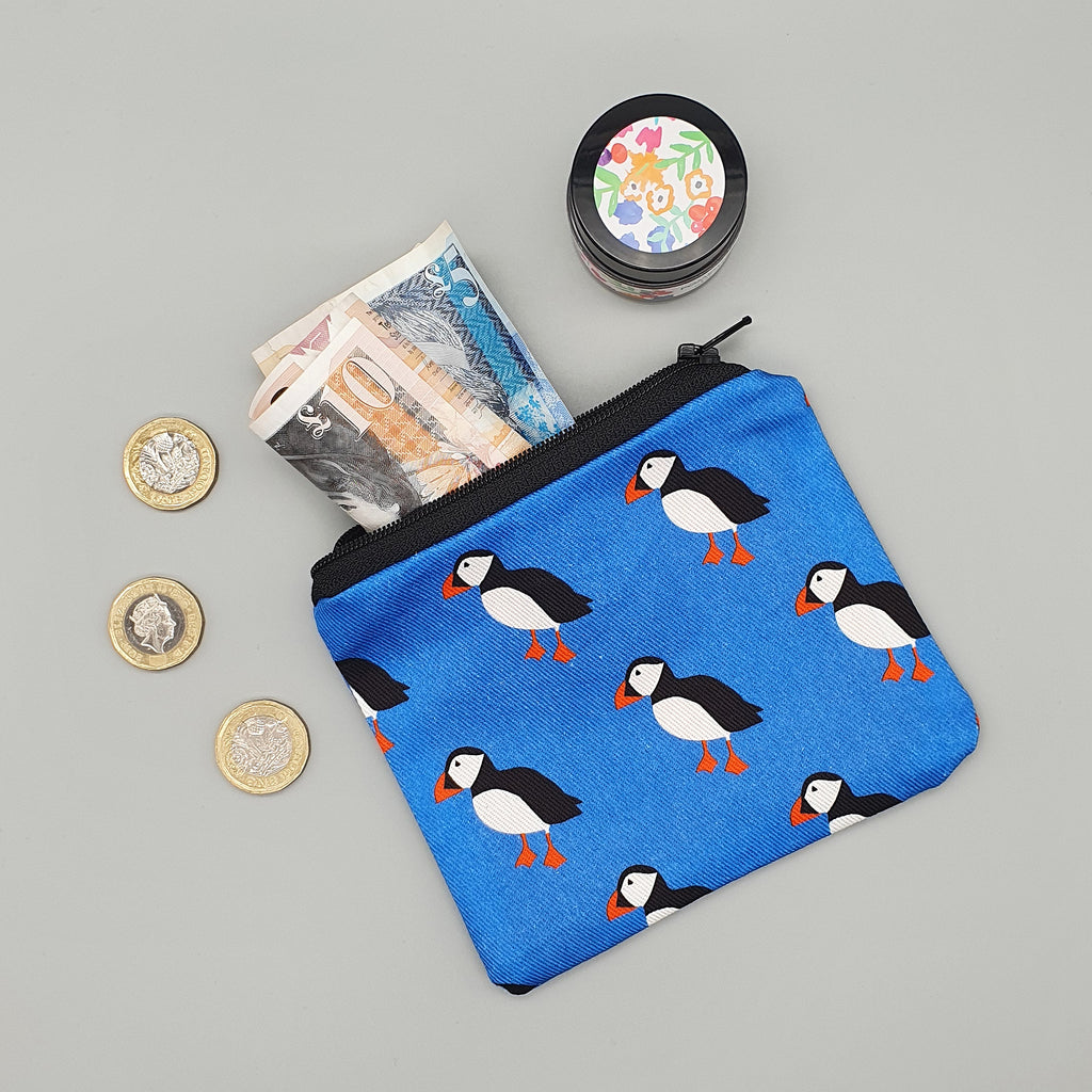 Puffin fabric purse
