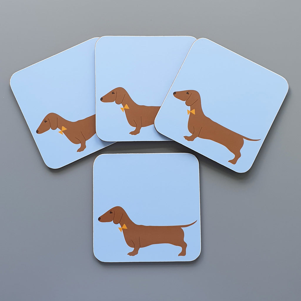 Set of 4 red Dachshund coasters