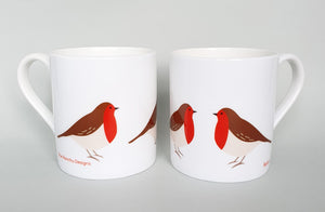 Robin bone china mug set