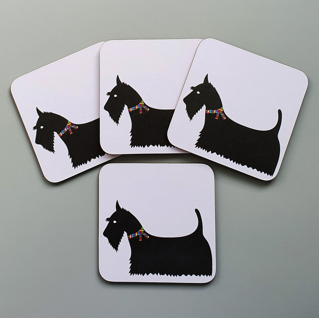 Set of 4 Scottie coasters