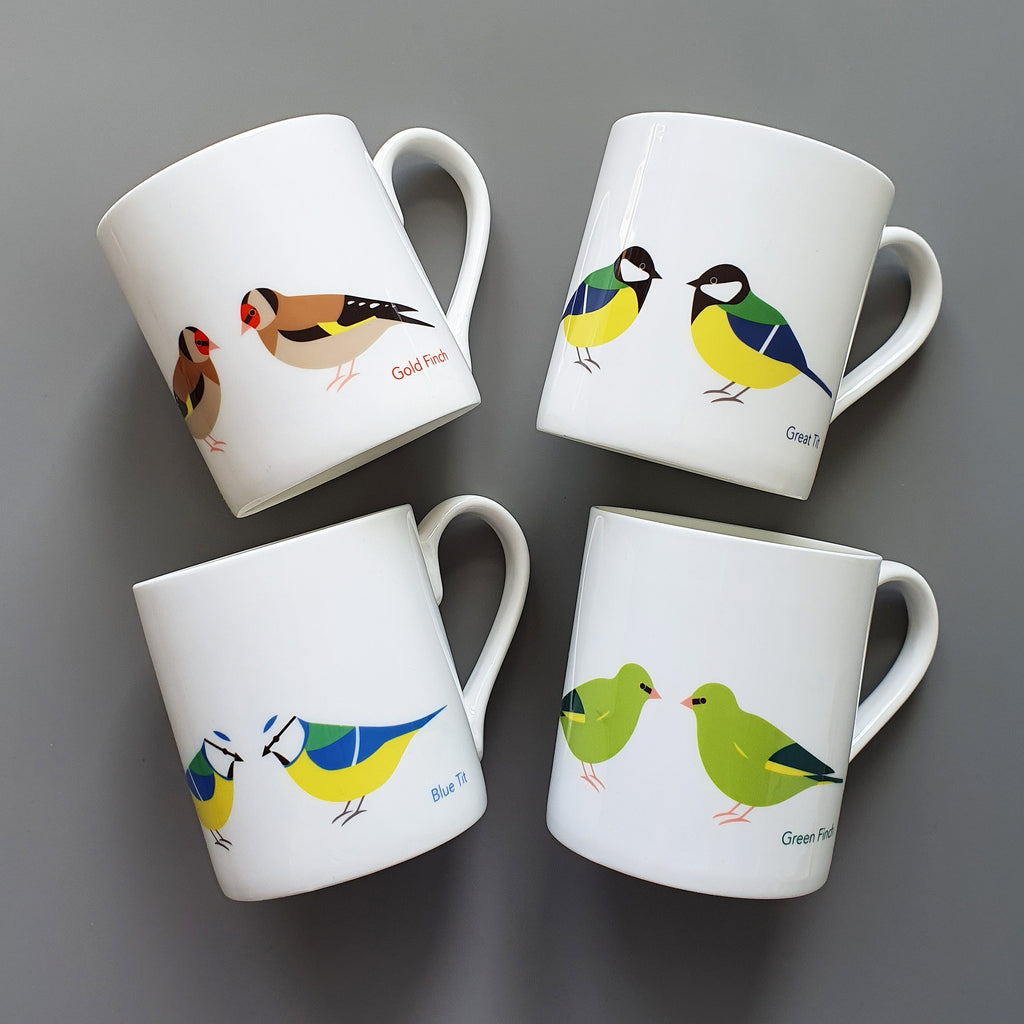 Set of 4 Garden Birds Bone China Mugs