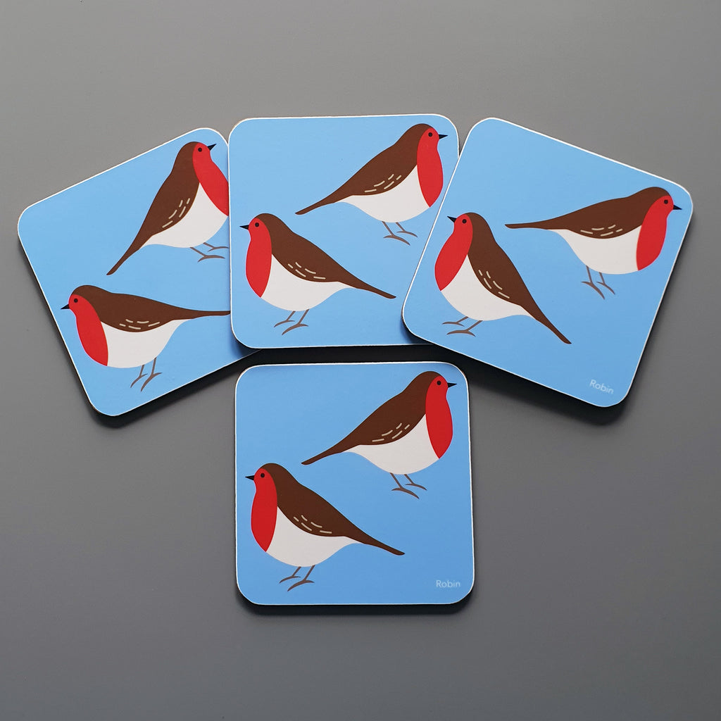 Set of 4 Robin coasters
