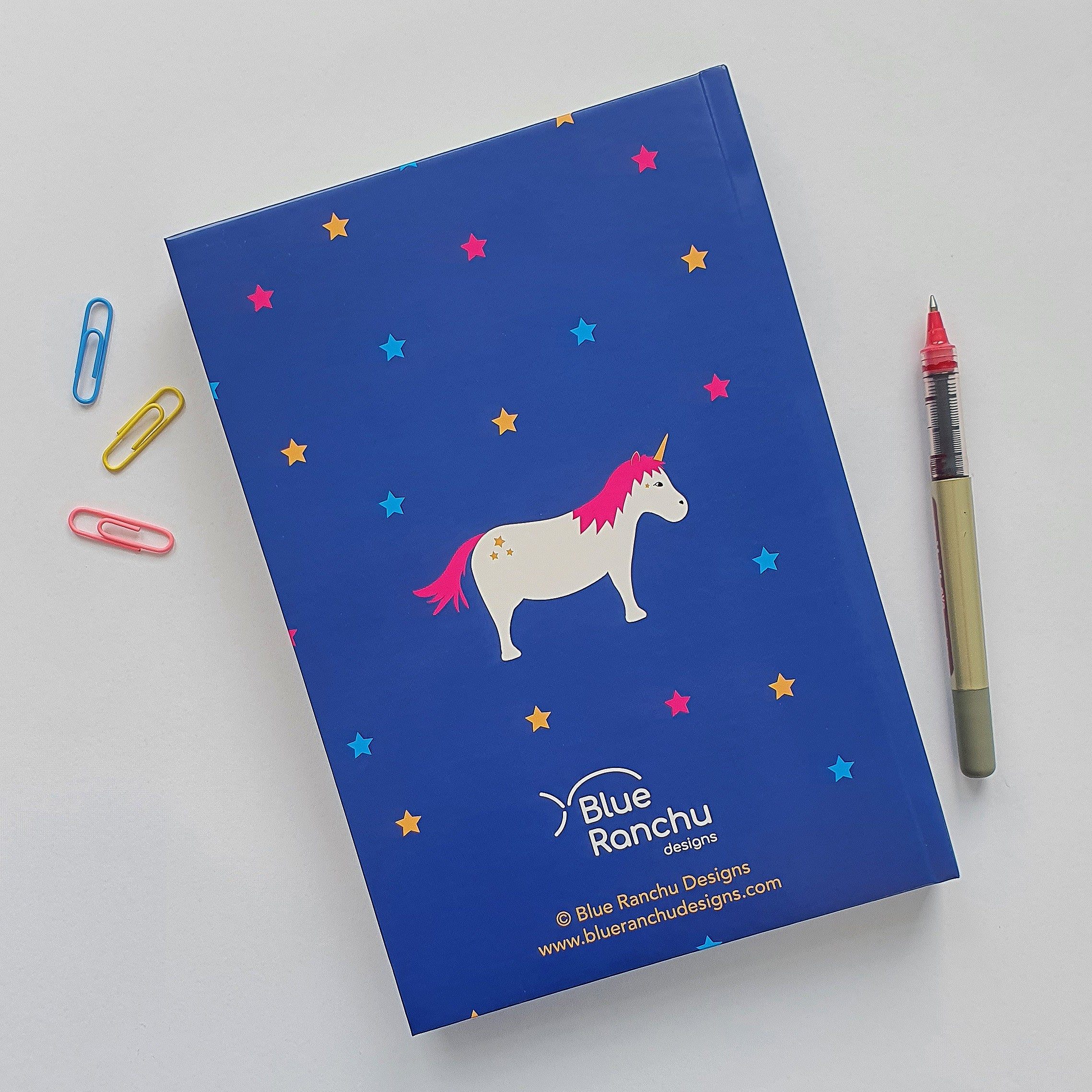 Unicorn A5 notebook back cover