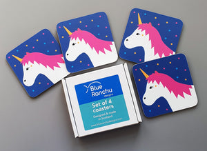 Unicorn coaster set in cardboard gift box
