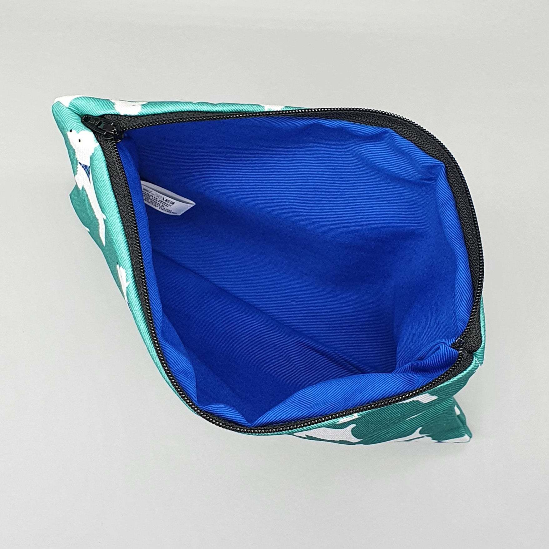 Westie accessories bag with blue interior lining