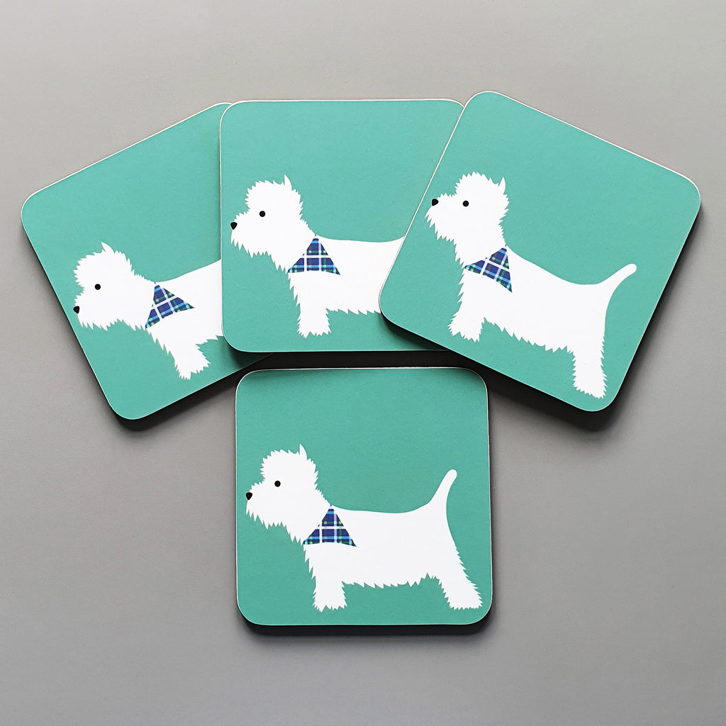 Westie set of 4 coasters