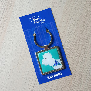 Westie Keyring on backing card