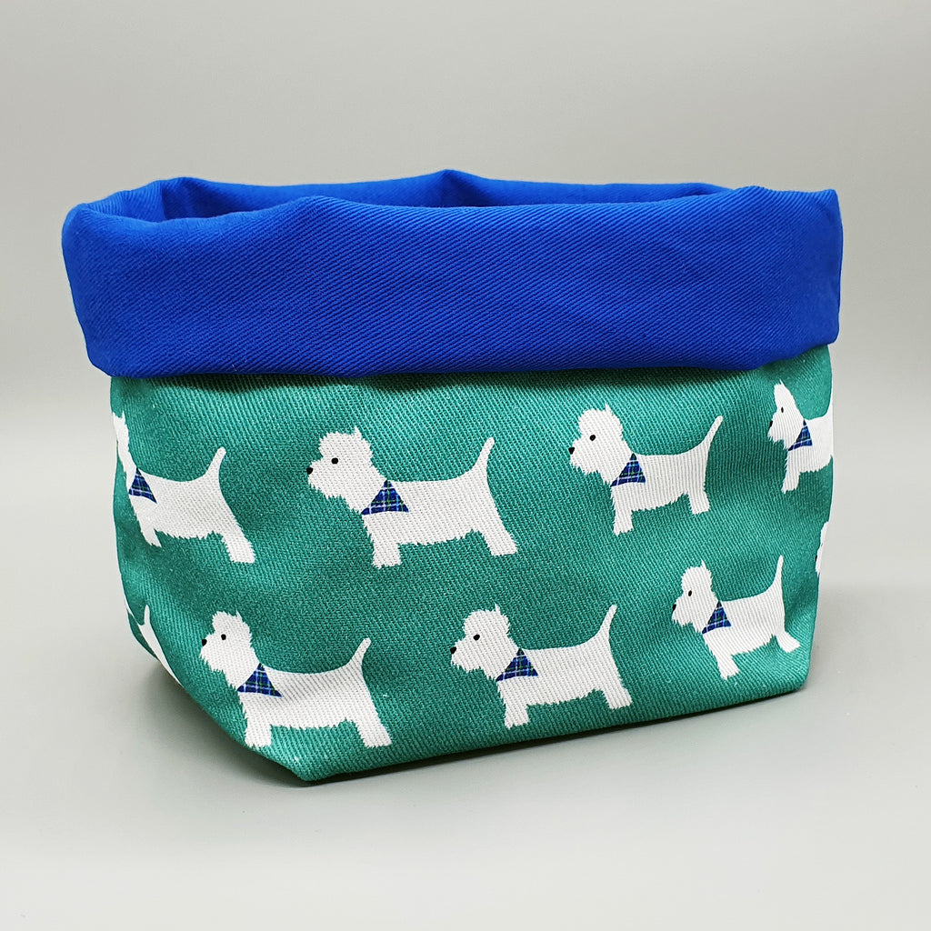 Westie fabric storage basket