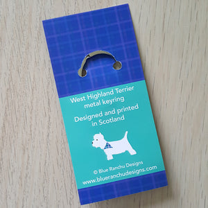 Westie Keyring backing card detail