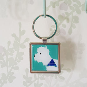Westie keyring hanging up