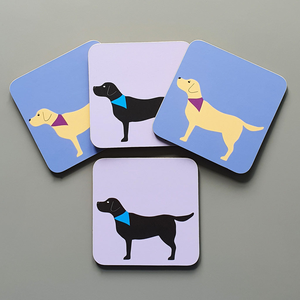 Set of 4 Labrador coasters - yellow & black Lab