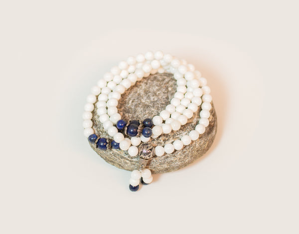 White mala with lapis lazuli beads