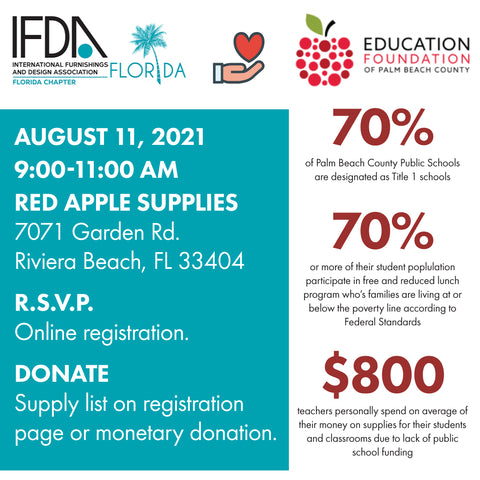 International Furnishing and Design Association of Florida supports Education Foundation of Palm Beach County Red Apple Supplies