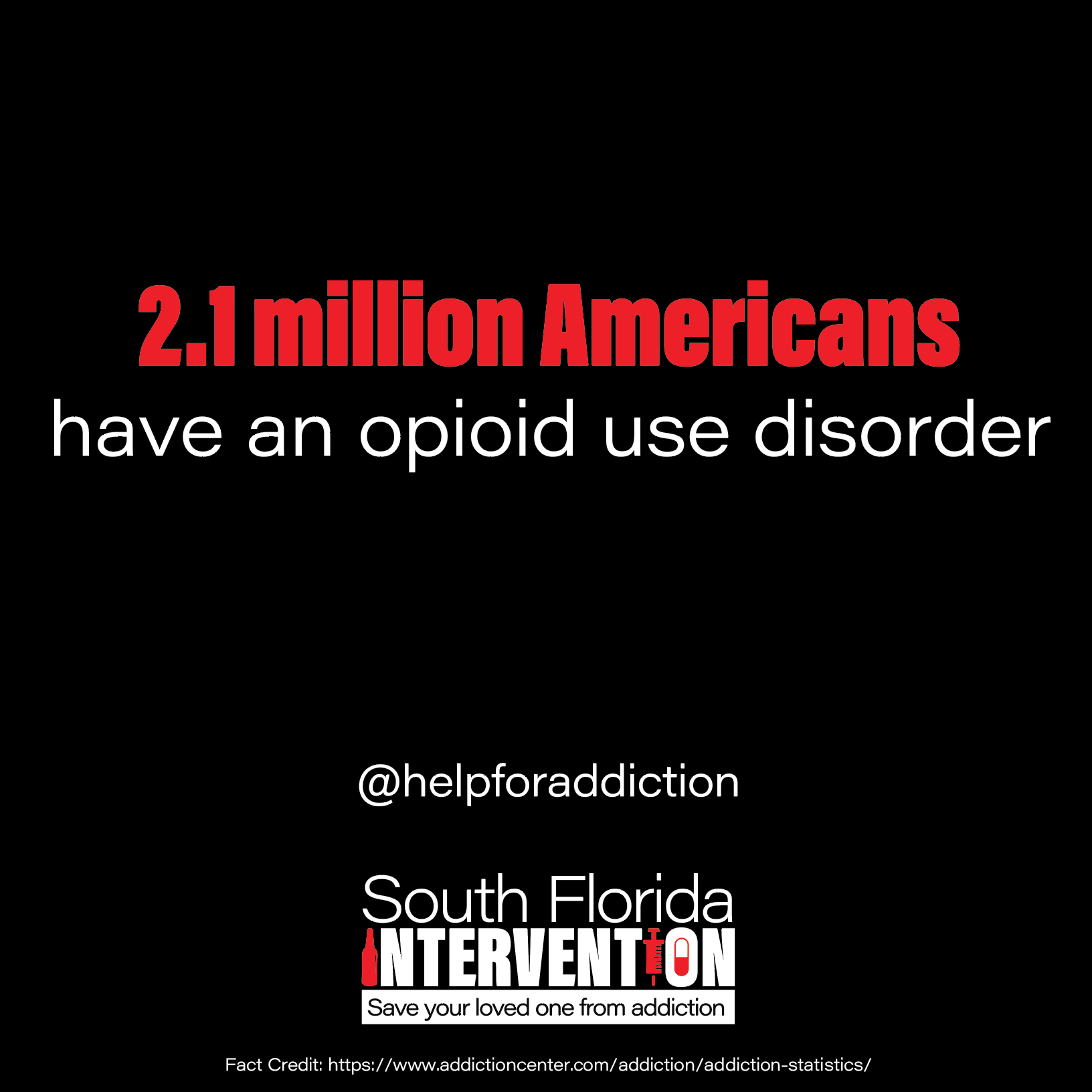 2.1 million Americans have an opioid use disorder @helpforaddiction