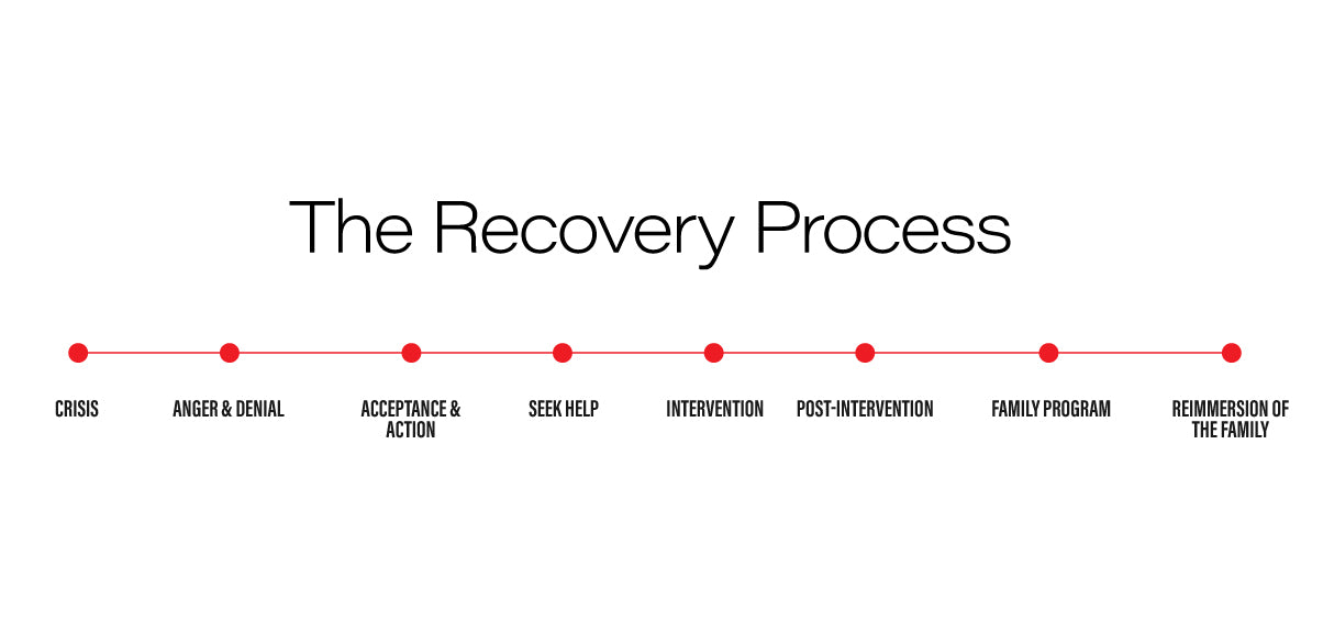 The addiction recovery process: crisis, anger & denial, acceptance & action, seek help, intervention, post-intervention, family program, re-immersion of the family