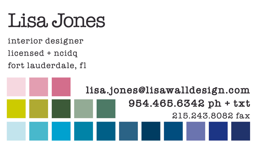 Lisa Jones Wall Design Interior Designer Business Card