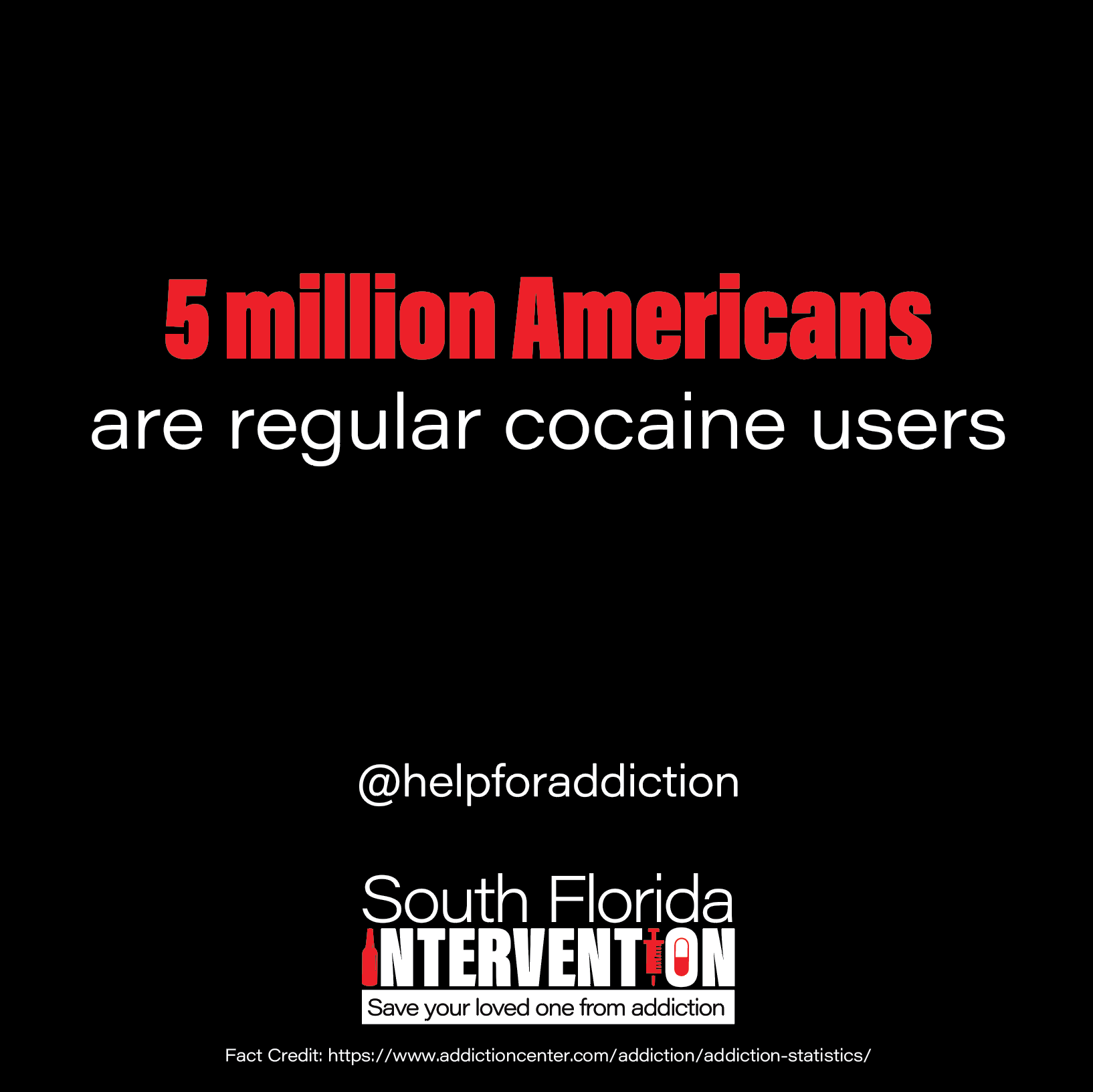 5 million Americas are regular cocaine users @helpforaddiction