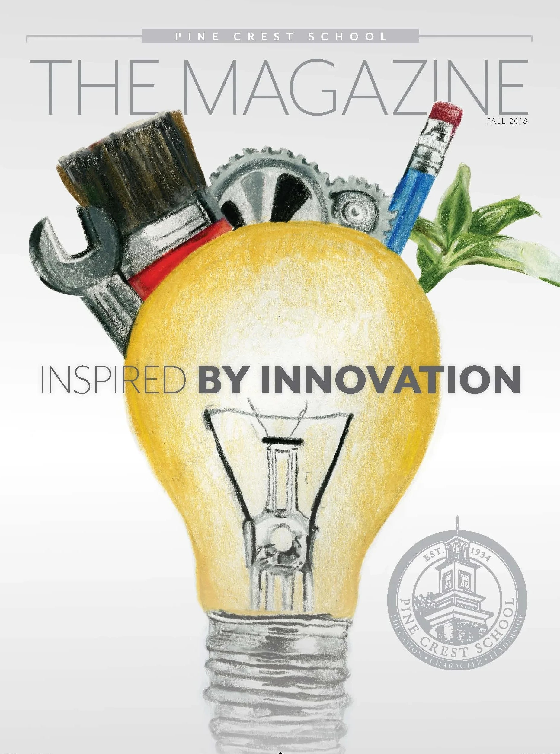 Pine Crest School's Issue of The Magazine Inspired by Innovation with Student Delaney Dardet '20 Drawing of a lightbulb and creative tools