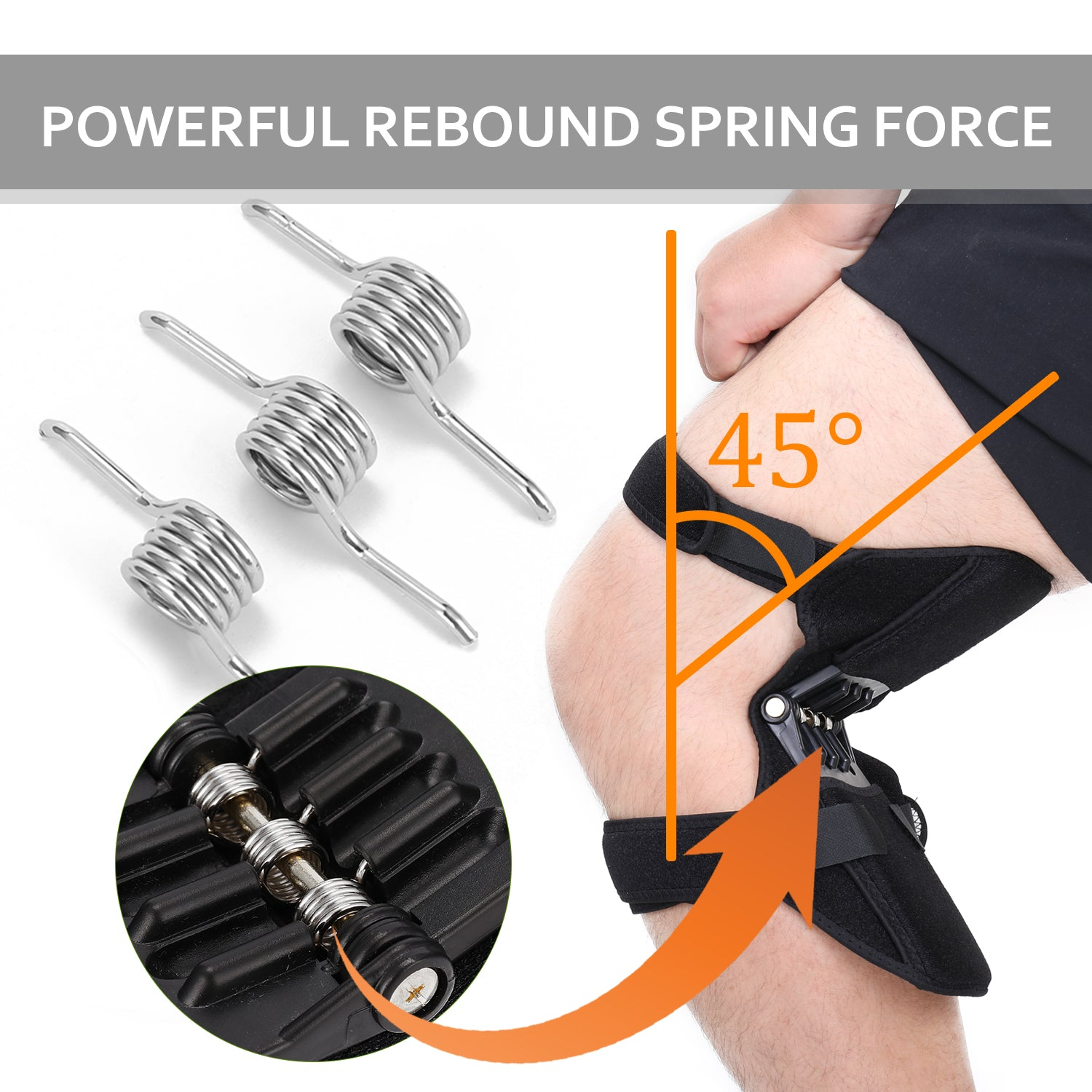 1 Pair Knee Protection Booster Power Lifts Joint Support Pads with Powerful Rebounds Spring Force Old Cold Leg Knee Band for Sports Hiking Climbing Training Squat Reduces Soreness