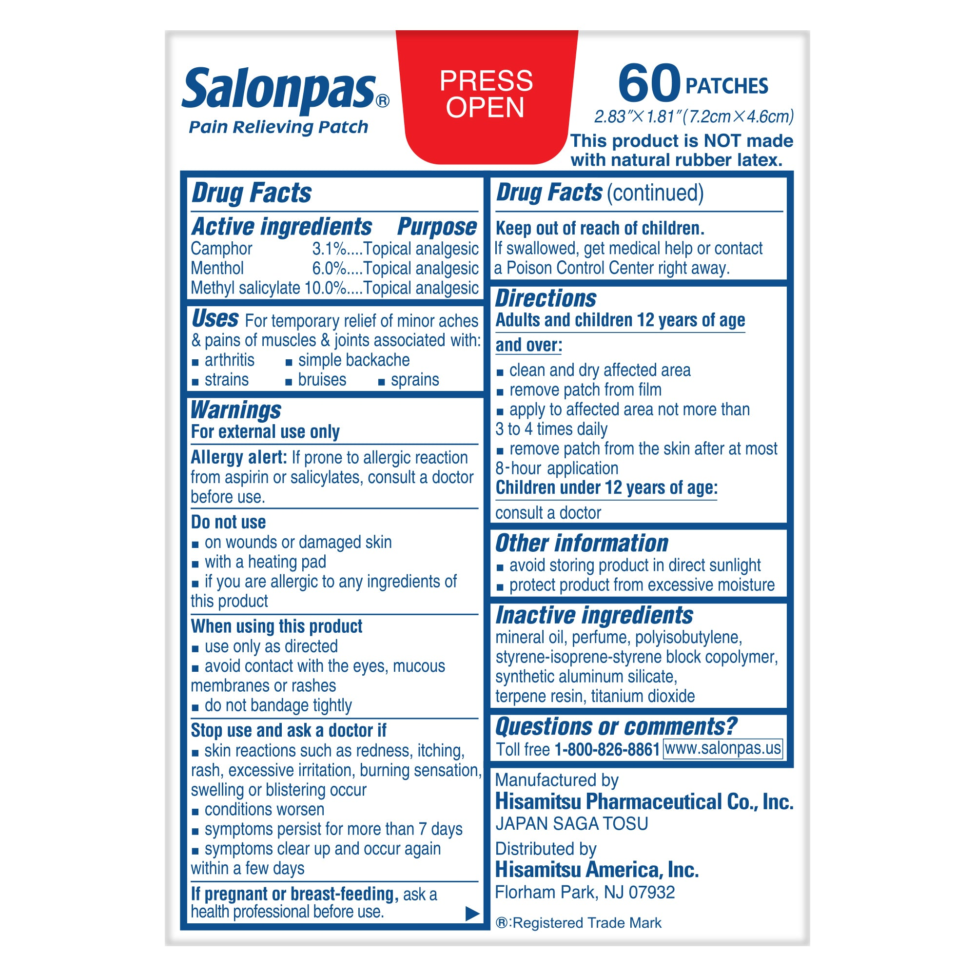 Salonpas Pain Relieving Patch, 8-Hour Pain Relief - 60 Patches