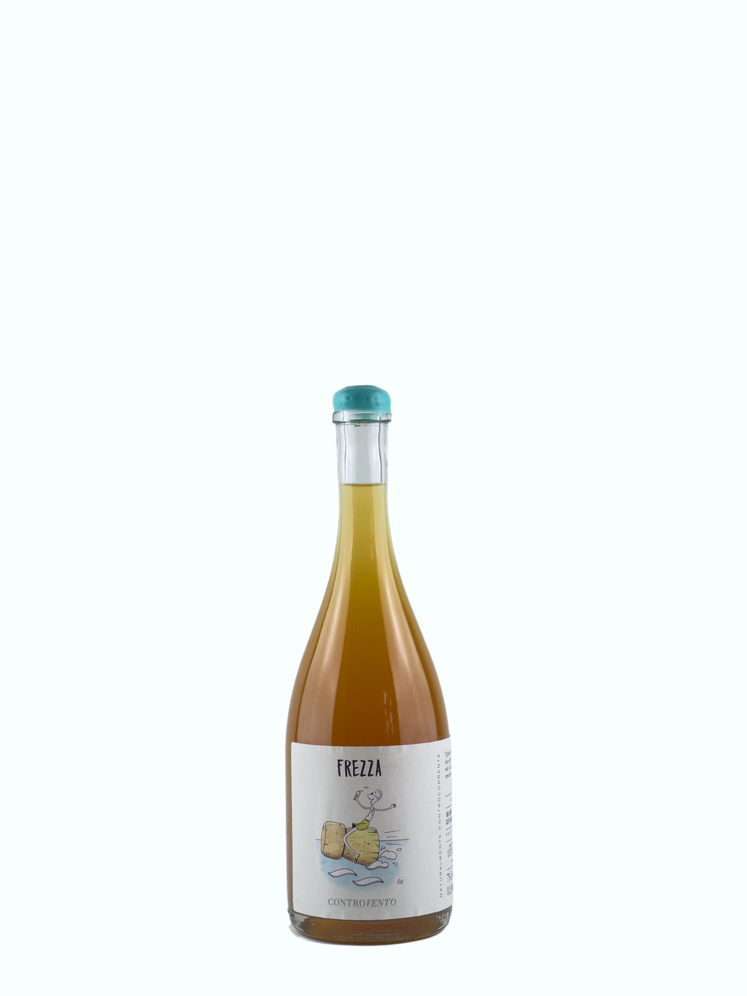 Bottle of Frezza, a Natural Wine produced by Controvento with Trebbiano, Passerina, Fiano and Malvasia grapes.