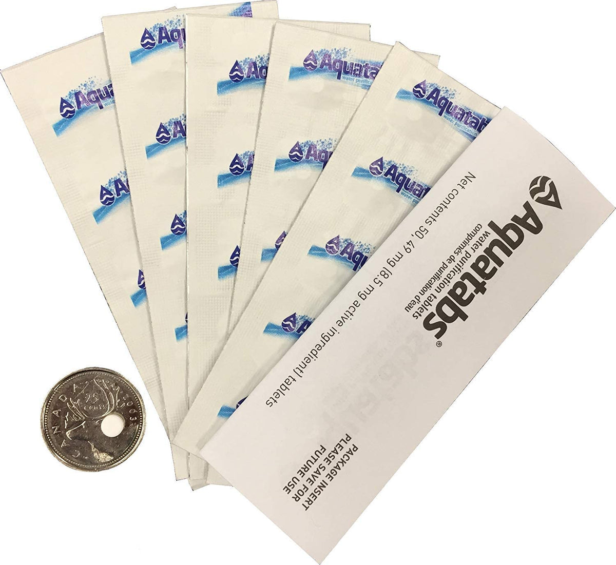Aquatabs Water Purification Tablets: Canadian 100/Pack with Bonus Whirl-Pak Emergency Water Bag