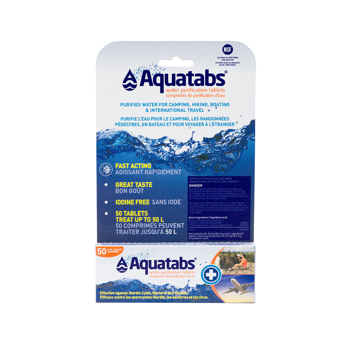 AquaTabs Water Purification Tablets 45mg Packet 50 Tablets
