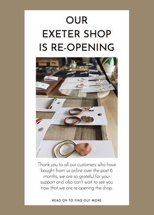We're Re-opening Our Exeter Shop
