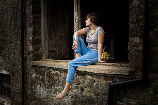 Indigo Dye Capri Pants and Grey V Neck Organic Cotton Top Sancho's Dress