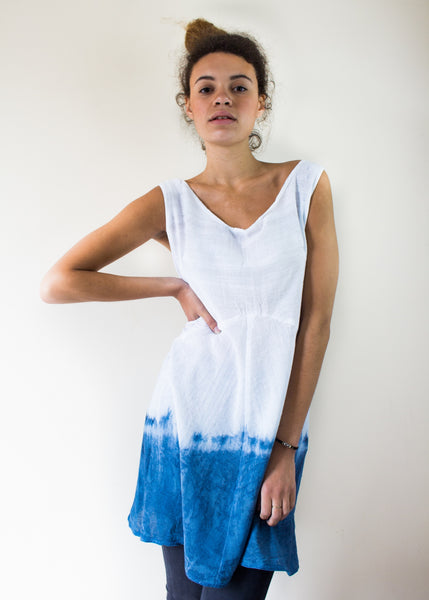 Dip Dyed Natural Indigo Dress my Sancho's Dress Ethical, Eco Friendly Fashion