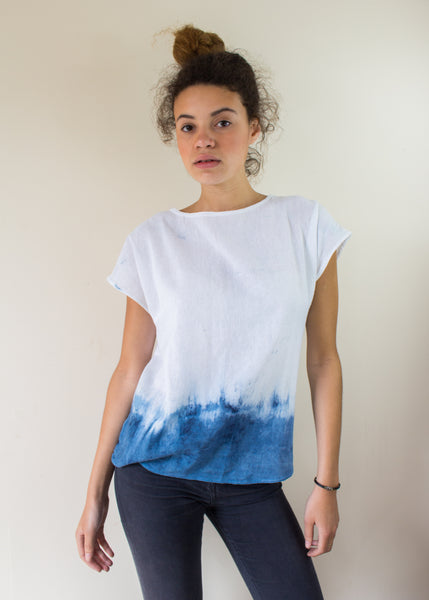 Dip Dyed Nautical Top in a Hand Woven Fabric Ethical, Eco Friendly Fabric