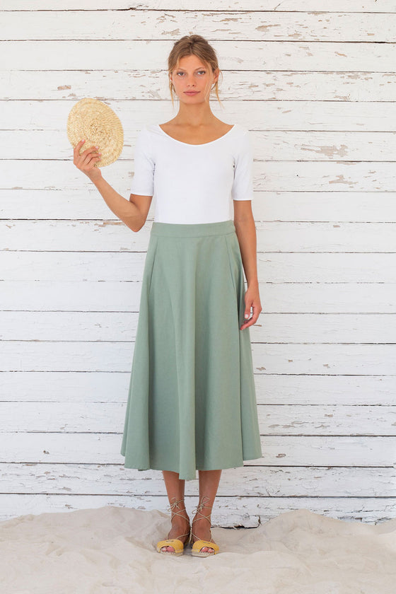 Organic Cotton an Linen Mix Edith Skirt in Iceberg Green From Suite 13