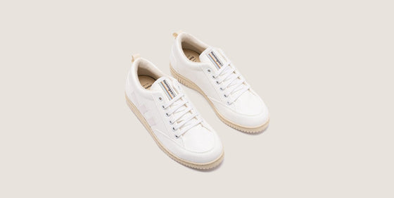 Bamboo and Corn Waste Roland V3 Trainers in Snow Ivory White from Flamingos Life